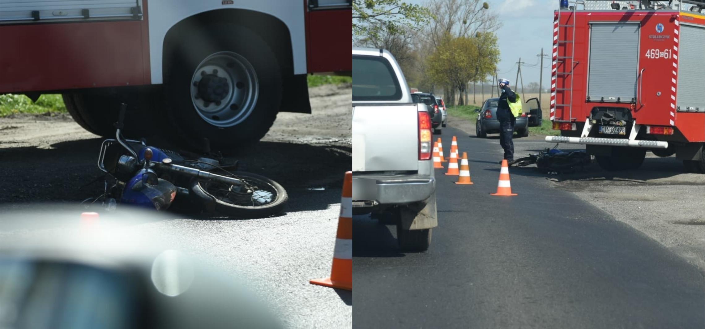 Kruszwica - Motorowerzysta wjechał w auto. Miał trzy promile