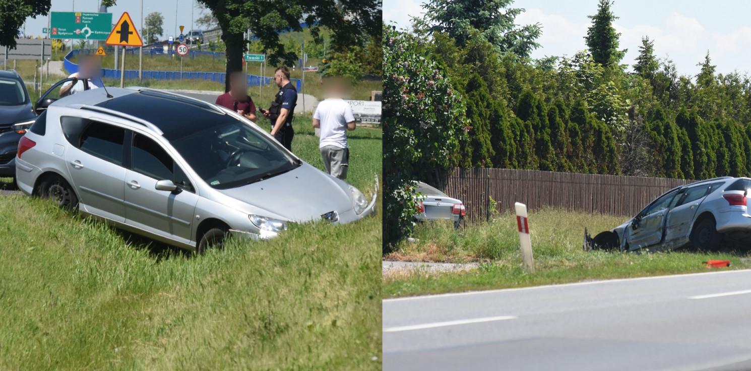 Gmina Inowrocław - Jedno auto w rowie, drugie wbiło się w ogrodzenie