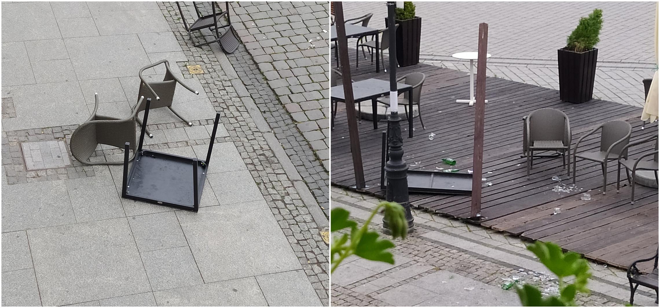 Inowrocław - Rozrzucone krzesła i zbite szkło. W centrum miasta