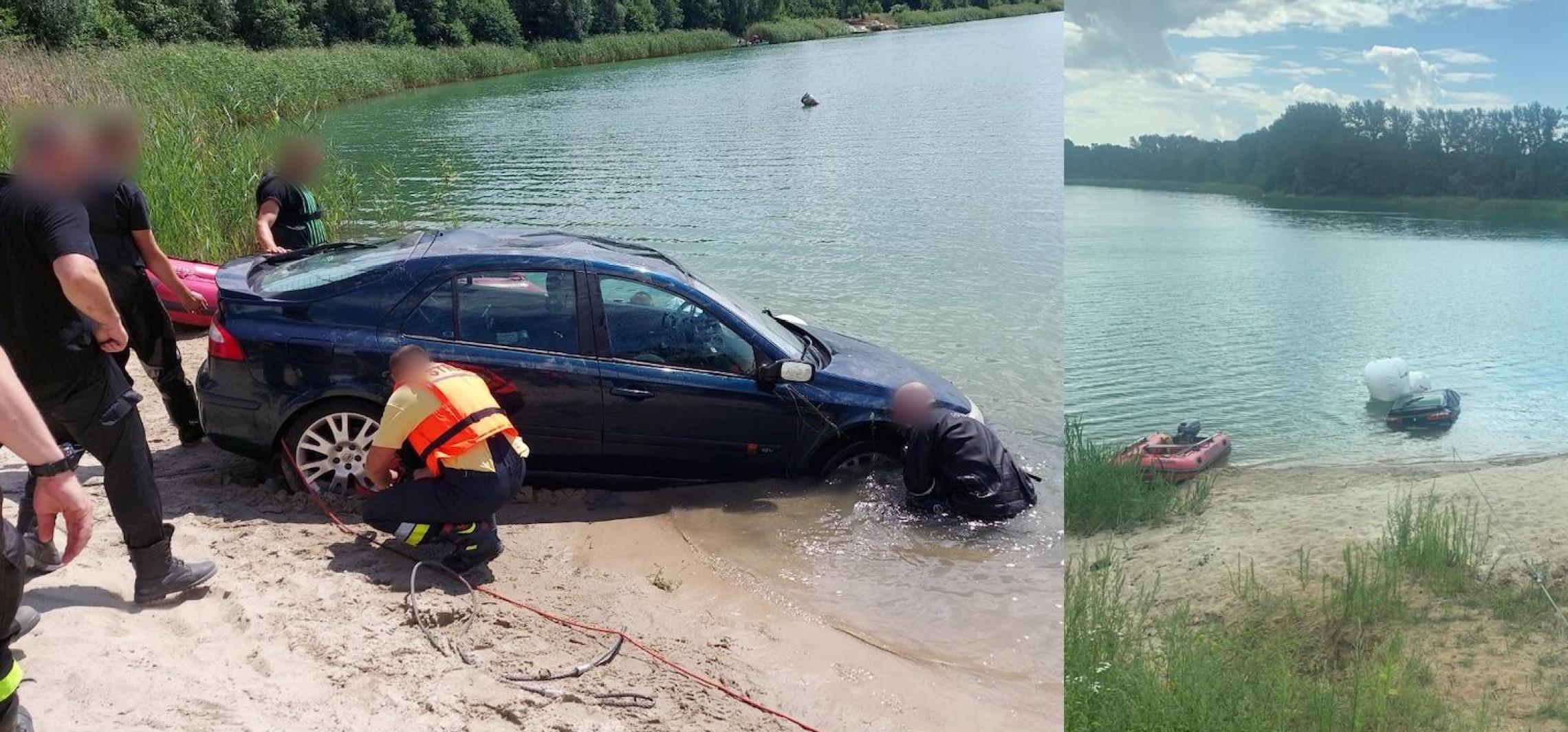 Region - Auto zjechało im do jeziora. W akcji płetwonurkowie