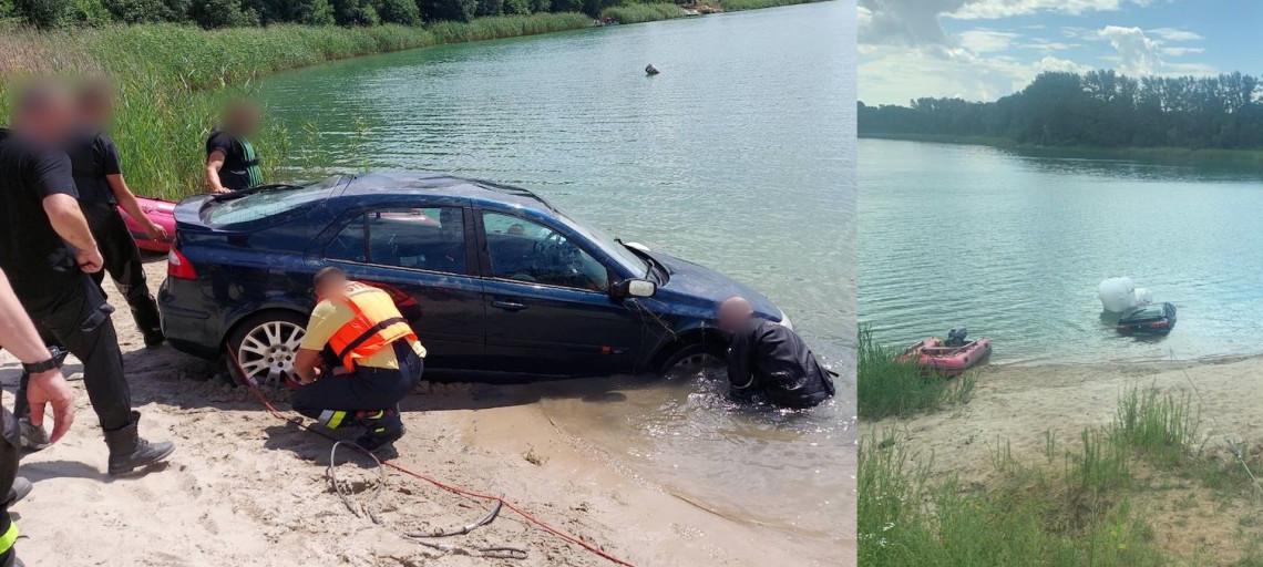 Auto zjechało im do jeziora. W akcji płetwonurkowie
