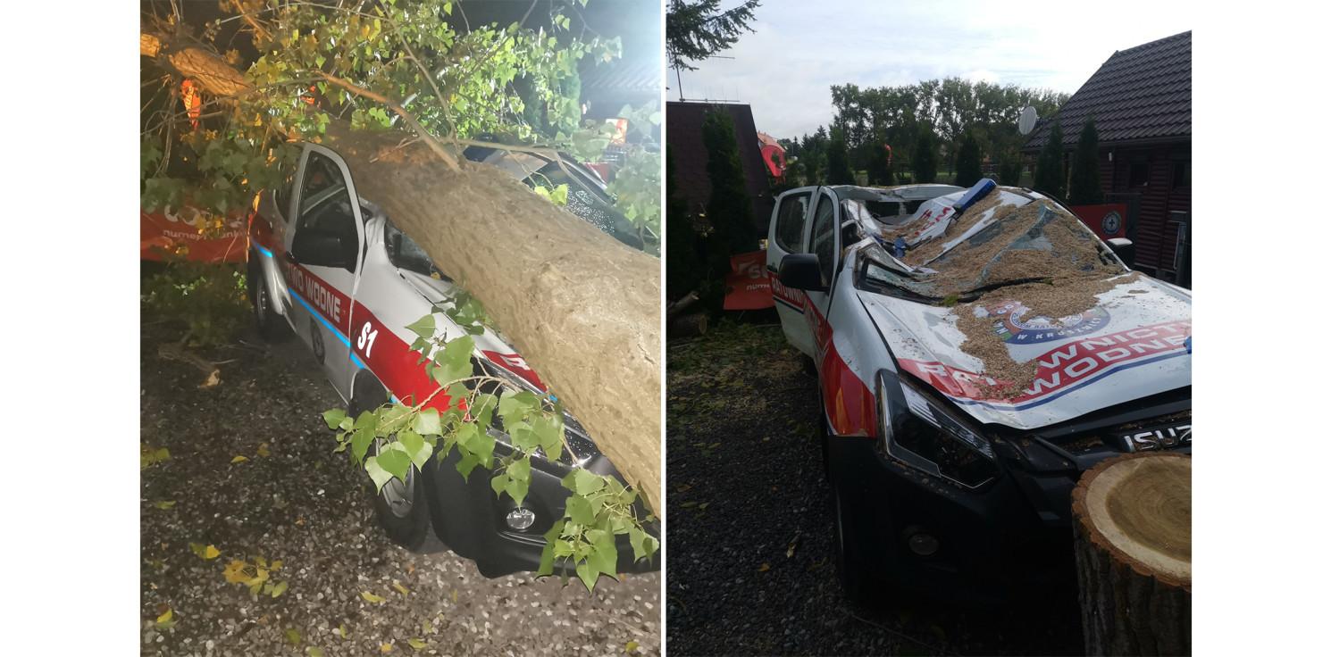 Kruszwica - Drzewo przygniotło samochód kruszwickiego WOPR