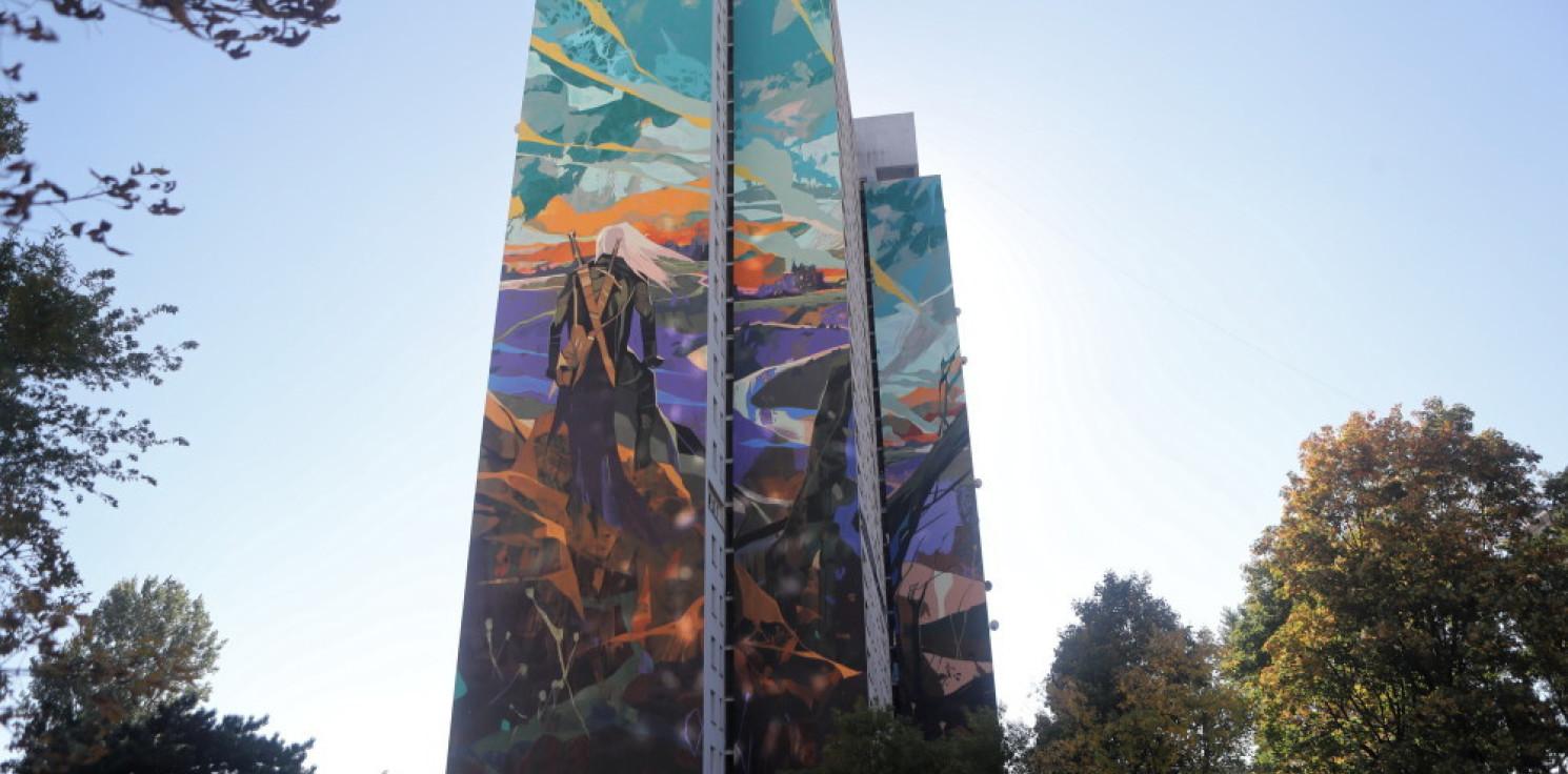 Rozmaitości - Łódź: odsłonięto największy mural w Polsce, jego motywem jest Wiedźmin