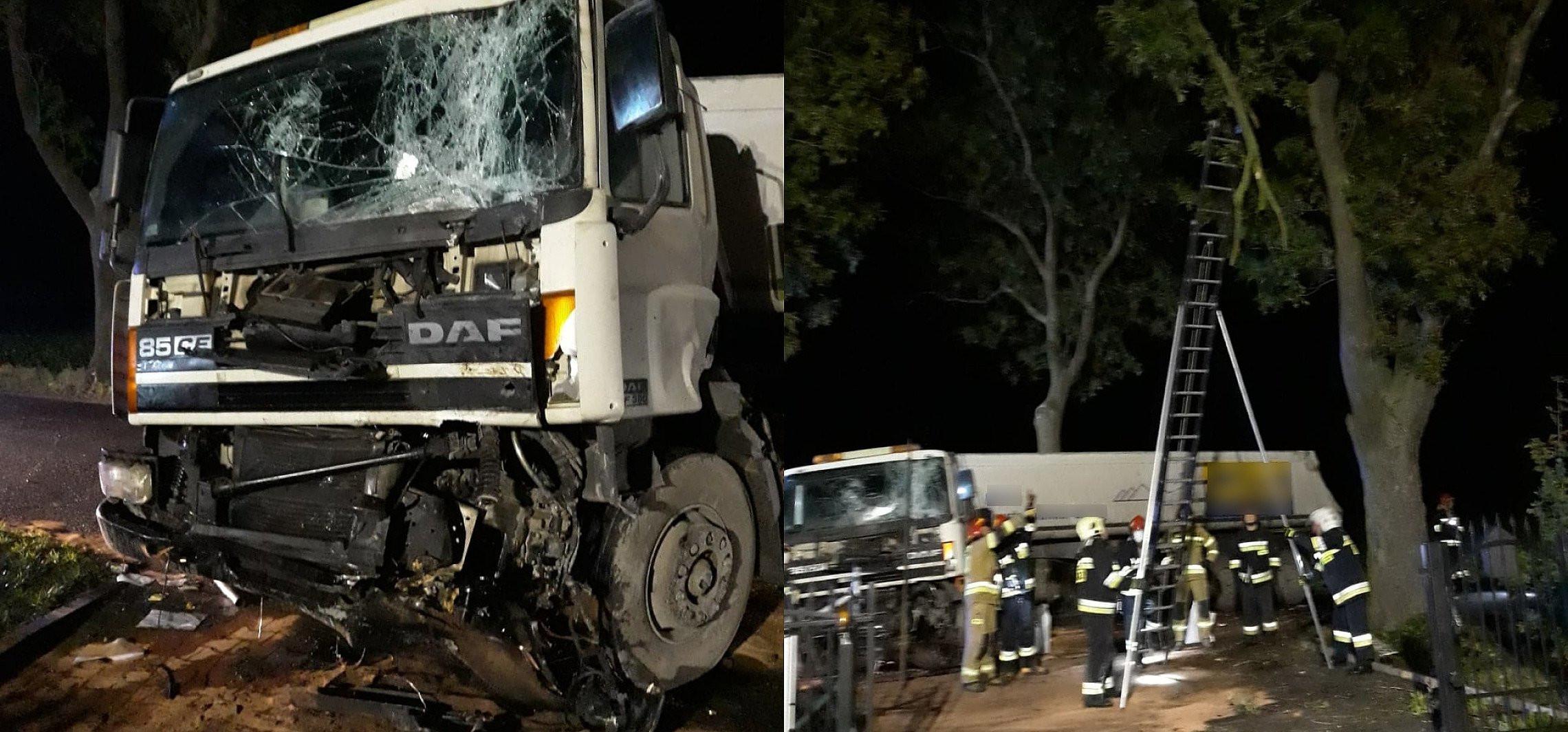 Kruszwica - Ciężarówka uderzyła w drzewo