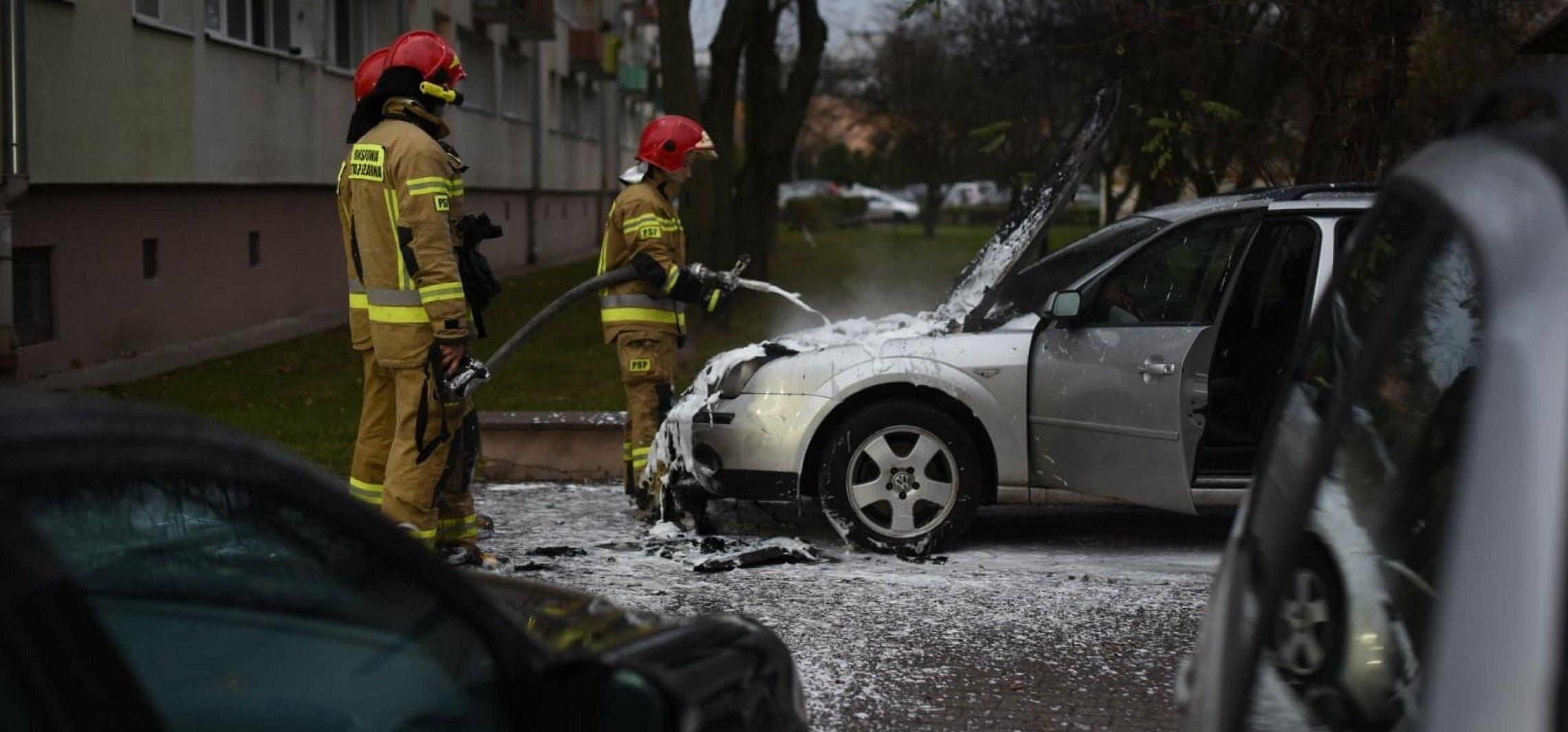 Pożar samochodu na osiedlu Piastowskim