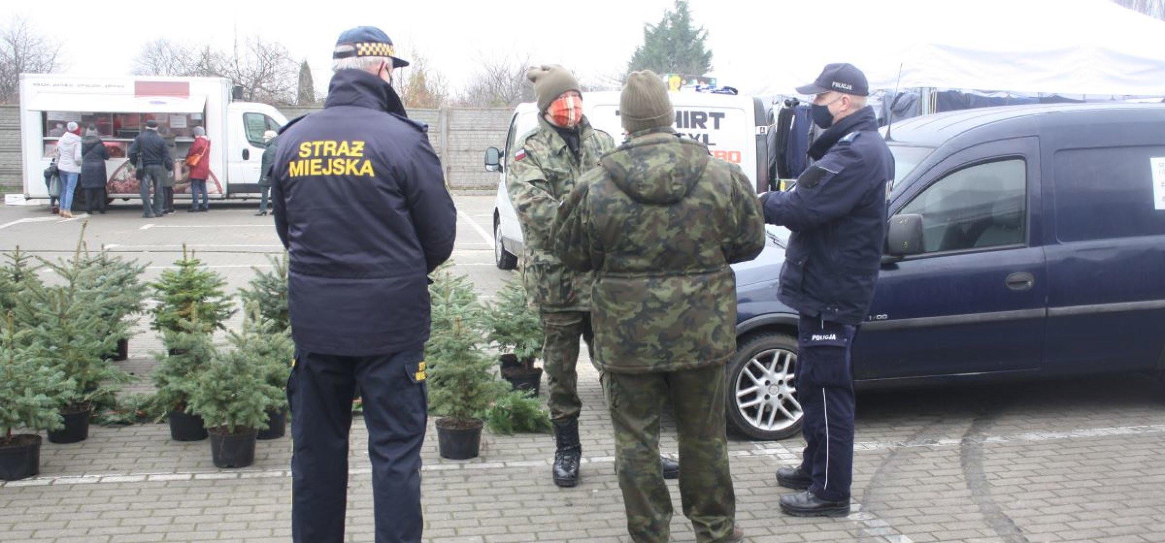 Mogilno - Policjanci kontrolują punkty sprzedaży choinek