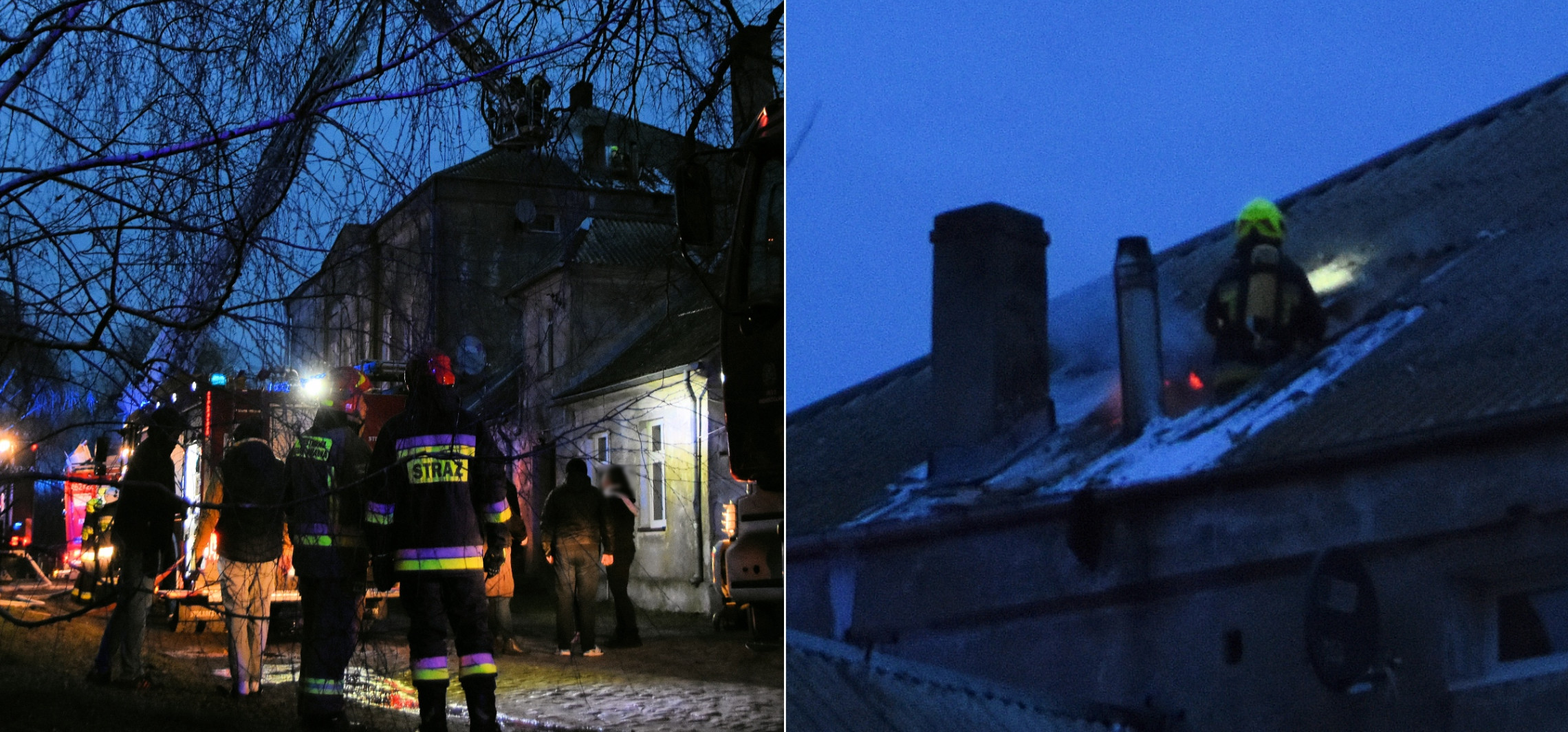 Gniewkowo - Pożar dachu w pałacu w Skalmierowicach